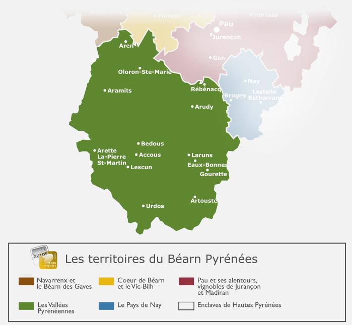 Carte des vallées du Béarn